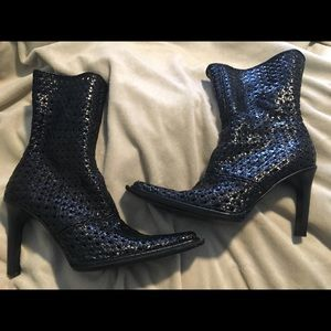 Italian Leather Basket Weave Ankle Boots